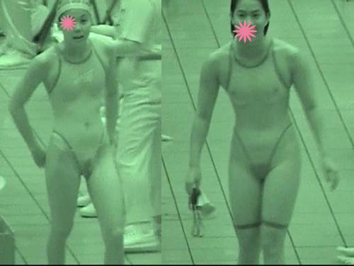 (秘密撮影22枚)マン毛お乳マル見え赤外線カメラで撮った競泳ミズ着小娘達だぁ