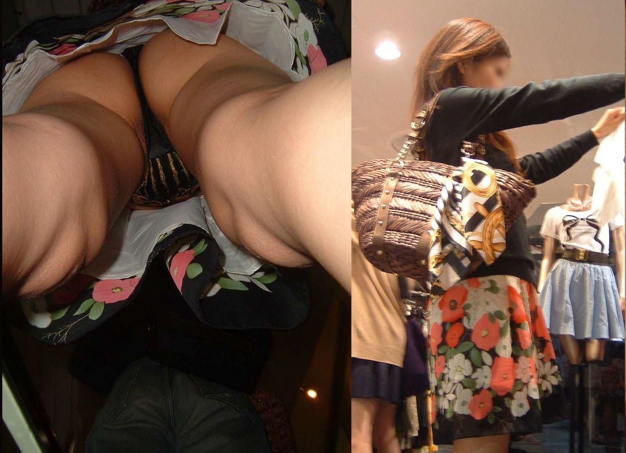 【エロ画像】隙あり~!買い物中の素人さんは無防備だしパンチラ盗撮し放題だわwwwwwwww